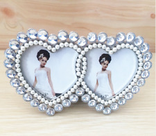 Wedding Couple Photo Frame Engagement Gift Pearl Memory Metal Collage Heart Love