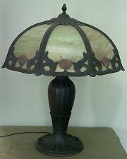 Art Nouveau Antique Table Lamp Slag Glass 8 Panels Miller