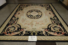 Elegant Royal French Home Decor Spendid Swirls Black Aubusson Wool Rug Pastel