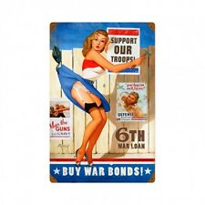 Buy War Bonds Vintaged Metal Sign - Hand Made in the USA with American Steel