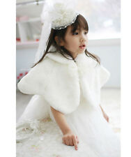 White Faux Fur Flower Girls Kids Wedding Short Jacket Coat Wrap Cape Age 2-13