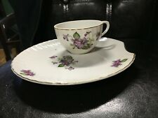 vintage tea cups and sandwich plates with purple flowers and gold trim (4 each)
