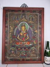 altes BRONZE Medizin Buddha Relief Thangka ziseliert  Bild Holz Tibet ~1940 74cm