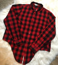 NWT Anthropologie Madewell Red Black Lumberjack Checked Front Tie Shirt Size XXL
