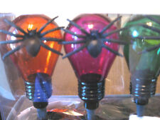 Halloween Light Set with Spiders on each bulb 10 ct 3 colors in/outdoor 11.5 ft