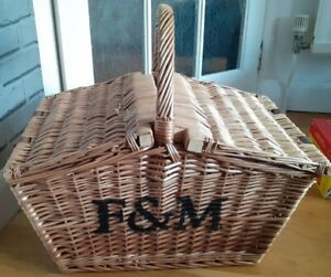 Fortnum and Mason Large Wicker Huntsman Style Hamper Picnic Basket F&M