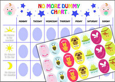 Boys No Dummy Chart, Child's Weaning Training A4 Reward chart and stickers