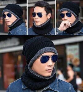 Men's Winter Beanie Hat and Scarf Set Warm Fleece Lined Knitted  Skull Cap UK