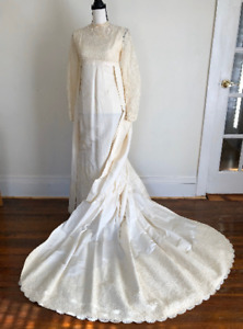 Candlelight Satin Wedding Dress Watteau Train 1960s Vintage Lace Trim