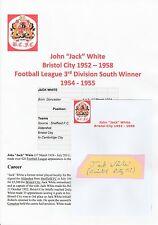 JACK WHITE BRISTOL CITY 1952-1958 RARE ORIGINAL HAND SIGNED CUTTING/CARD