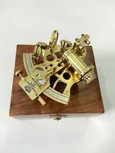 Nautical Brass Sextant with Wooden Box Navigational Sextant Vintage Antique GIft