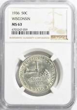 1936 Wisconsin Silver Commemorative Half Dollar - NGC MS-63 - Mint State 63