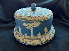 ANTIQUE Wedgewood Blue and White Dipware Jasperware Cheese Dome And Underplate