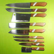 Thai Chef Knife Cook KIWI Knives Set 9 pcs Wood Handle Kitchen Blade Stainless