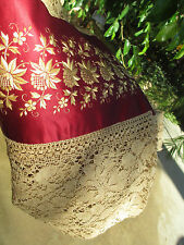 19th Antique Linen Lace embrodered silk hand made Tablecloth bedspread 86x94