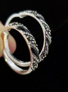 Sterling Silver Marcasite and Black Enamel Hoop Earrings 1 inch