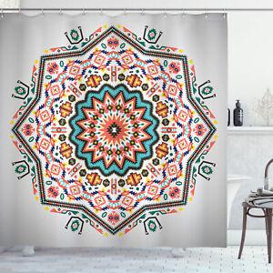 Tribal Shower Curtain Abstract Sun Aztec Style Print for Bathroom