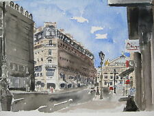 """Paris Mimi Watercolor Print// Right Bank with Bicycles 8/"""" x 11 7//8/"""" France"""