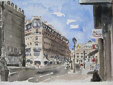 """Rue de L'Opera, Paris, France / Watercolor Print / 7 1/2"""" x 11 1/2"""" / Mimi Davis"""