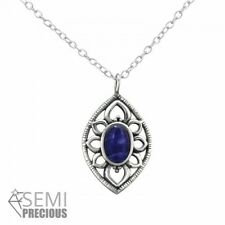925 Sterling Silver Marquise with Sodalite Gemstone Pendant Necklace