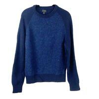 J Crew Womens size Medium Long Sleeve Wool Navy Blue Crew Neck Sweater spotted
