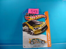 #343 HOT WHEELS STUNT 2013 CITROEN C4 RALLY #91 YELLOW WITH GRAPHICS NEW ON CARD