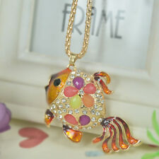 Crystal Pendant Christmas Mother's Gift D Fish Bead Sweater Necklace Rhinestone