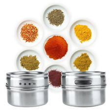 Stainless Steel Magnetic Spice Storage Jar Tins Container With Rack Holder Silve