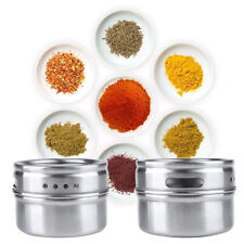 Stainless Steel Magnetic Spice Storage Jar Tins Container With Rack Holder