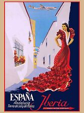 Espana Iberia Spain Spanish Senorita Europe Vintage Travel Advertisement Poster