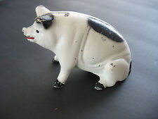 VINTAGE Money $$$ ANIMAL CAST IRON PIG COIN BANK BLACK White RED