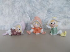 Lot 3 Vintage  HOMCO Bisque Porcelain Pixie Elf Fairy Figurines 5213 Made Taiwan