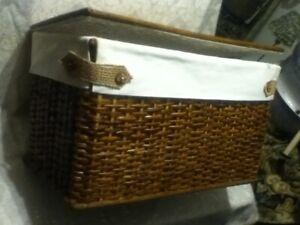 "LARGE 22"" Tiki Wicker Woven Rattan Picnic Basket Trunk Storage Chest Box Liner"