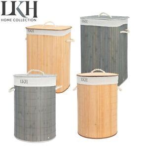 Folding Laundry Basket Hamper Bamboo Clothes Storage Organizer Bag Lid Large 72L