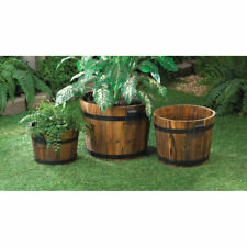 Set Of 3 Wood Apple Barrel Planters Metal Handles Sturdy Brown