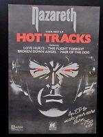 "NAZARETH 'HOT TRACKS' 1977 UK FULL PAGE MAGAZINE ADVERT CUTTING 10"" x 15"" POSTER"