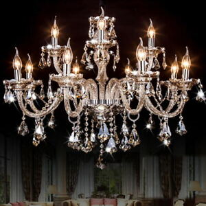 K5 Clear Crystal Chandelier 6-Arm Ceiling Light Lamp Pendant Decor Fixture Decor