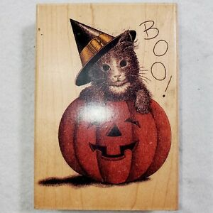 Kitty In Pumpkin Boo 4617 Large Wood Mounted Rubber Stamp Halloween Hampton Art