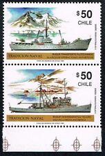 CHILE 1990 STAMP # 1424/5 MNH ANTARCTIC SHIPS TRADICION NAVAL