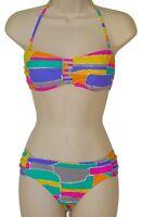 Raisins bikini swimsuit size M multi-color bandeau 2 piece set nwt new