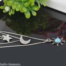 Womens Fashion Multilayer Chain Rhinestone Sun Moon Star Necklace Jewelry 46cm