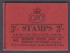 1959 ( SEPTEMBER ) 3/-  BRICK RED GRAPHITE BOOKLET SG M14g NICE CONDITION - RARE