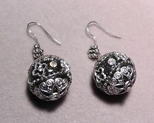 Rhinestones set in BLACK Ceramic on Silver Indonesian Earrings  (r621)
