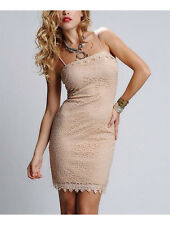 BEAUTIFUL NWT $200 KIMIKAL TAN LACE BODY CON COCKTAIL PARTY DRESS L RUNS S