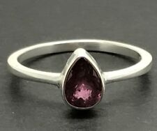 Natural Pink Tourmaline (rubellite) pear Solitaire Ring, Solid Sterling Silver