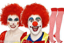 Men's Women's Red Clown Wig Nose Socks Fancy Dress Comic Relief Costume Stag Hen