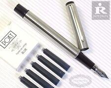 Pirre Paul's F828 Fountain Pen F nib stainless steel+5 POKY cartridges BLUE ink
