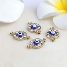 Gold Saucer Eye Beads Connector Rhinestones DIY Bracelet Bangle Findings 10pcs