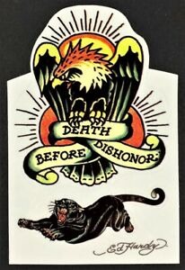 Death Before Dishonor STICKER Decal Artist Ed Hardy Bonus Panther Kiss Cut EH1