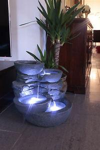 Zimmerbrunnen Groß Cascades mit LED Beleuchtung Springbrunnen Gartenbrunnen